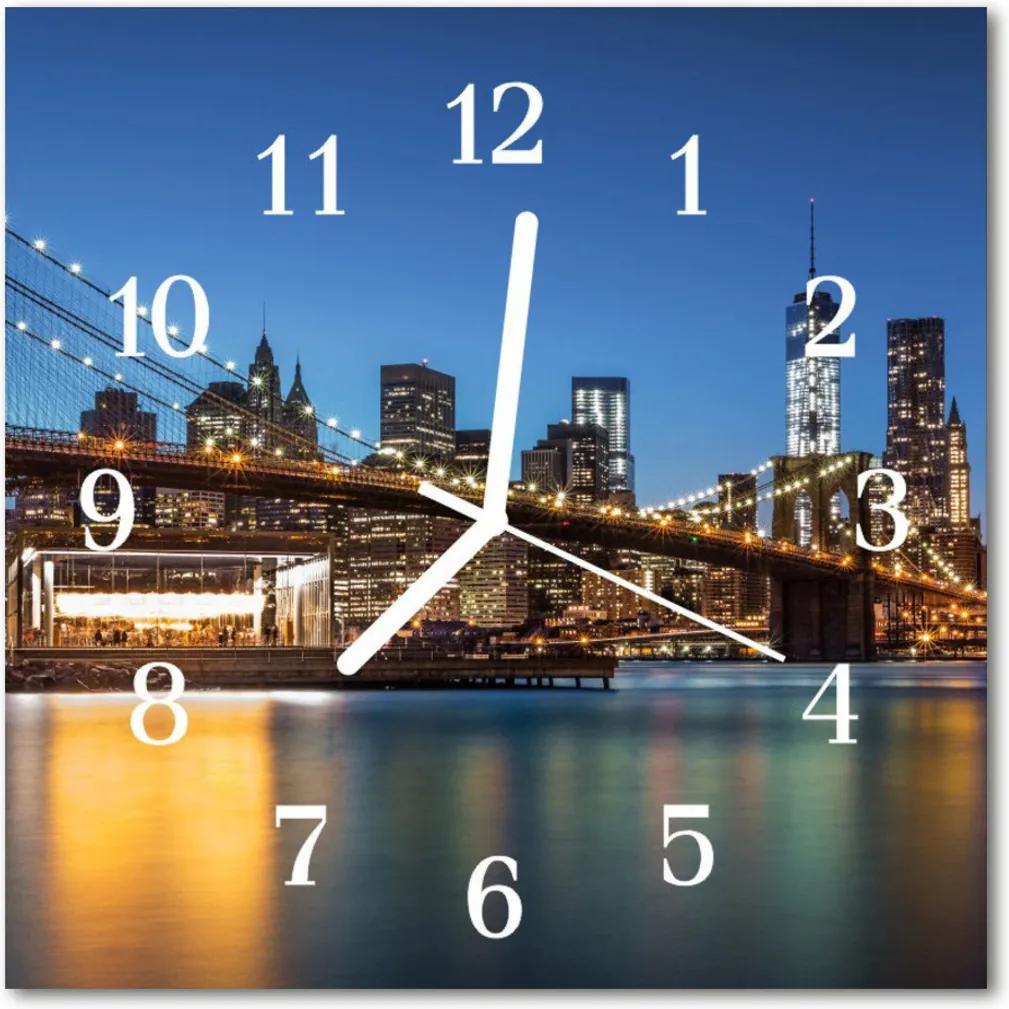 Nástenné skleněné hodiny Architektura mostu