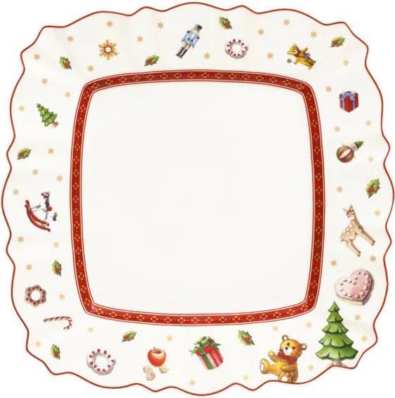 Biely hranatý dezertný tanier 22 cm Toy's Delight
