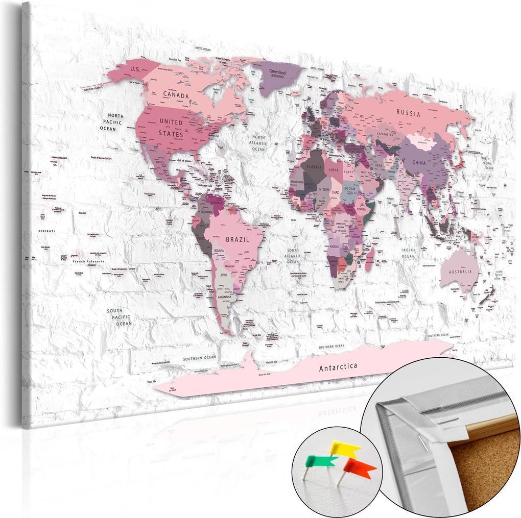 Obraz na korku - Pink Frontiers [Cork Map] 120x80