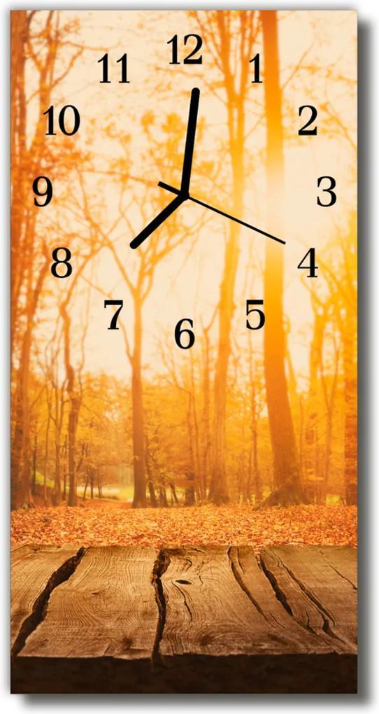 Skleněné hodiny vertikální Hnědý lesní les