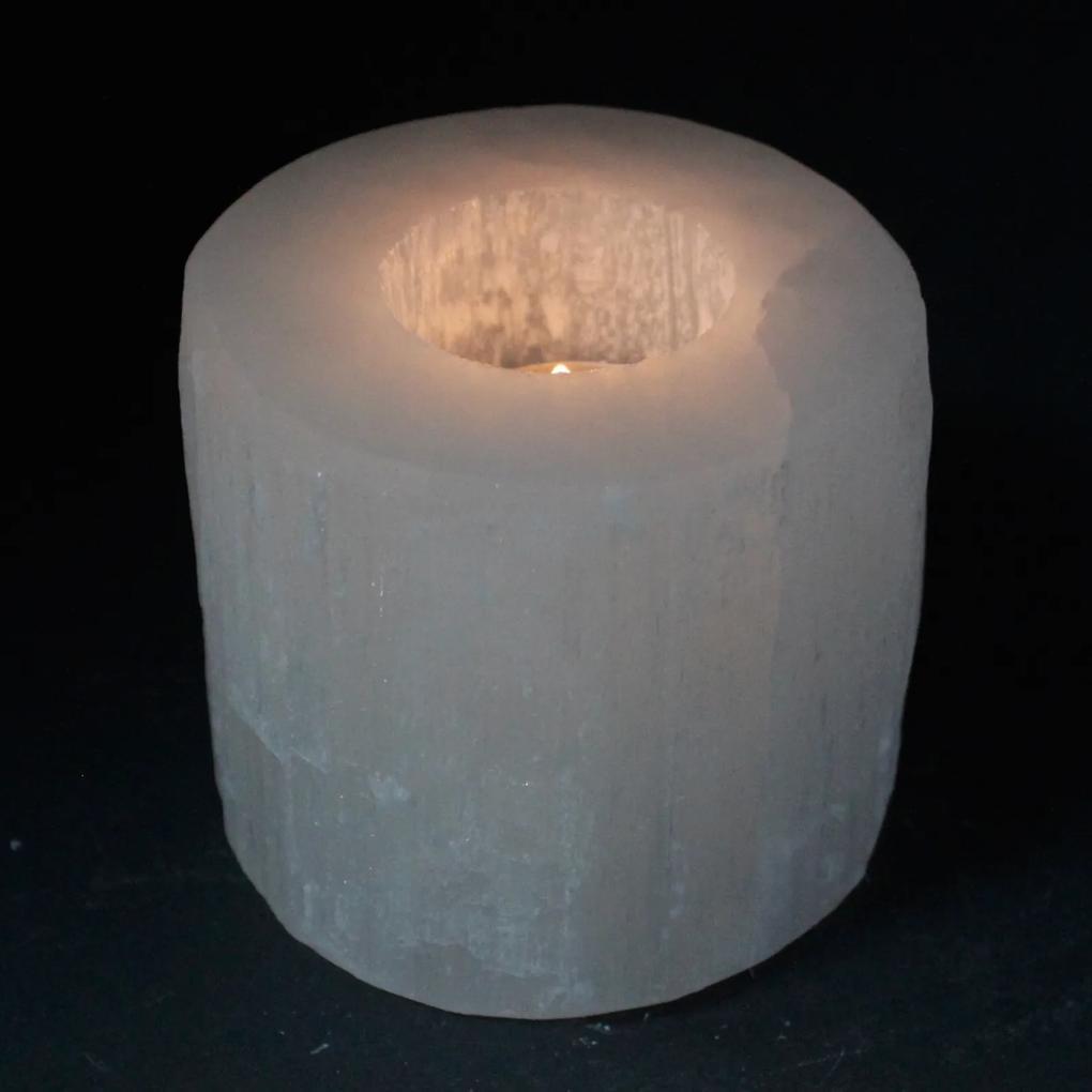 Selenitový svietnik - Valec 8 cm