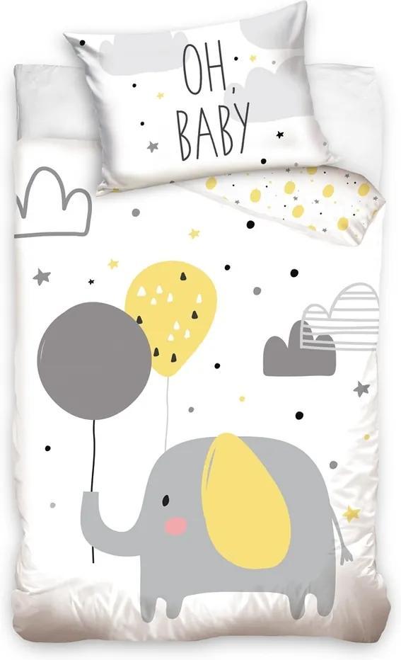 Tiptrade Detské bavlnené obliečky do postieľky Sloníča a balóniky, 100 x 135 cm, 40 x 60 cm