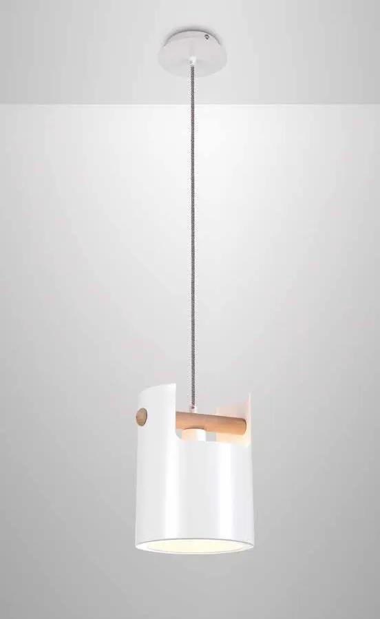 CUBE | dizajnová biela visiaca lampa s drevom Rozmer: 19 cm