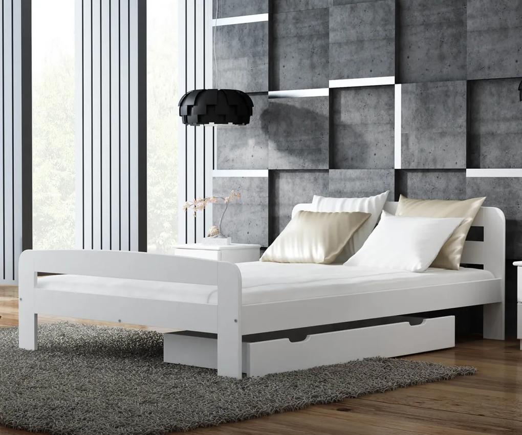 AMI nábytok Postel borovice Nastěnka 120x200 masiv bílá