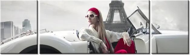 Tlačený obraz Woman in car and Eiffel tower 170x50cm 1413A_3G