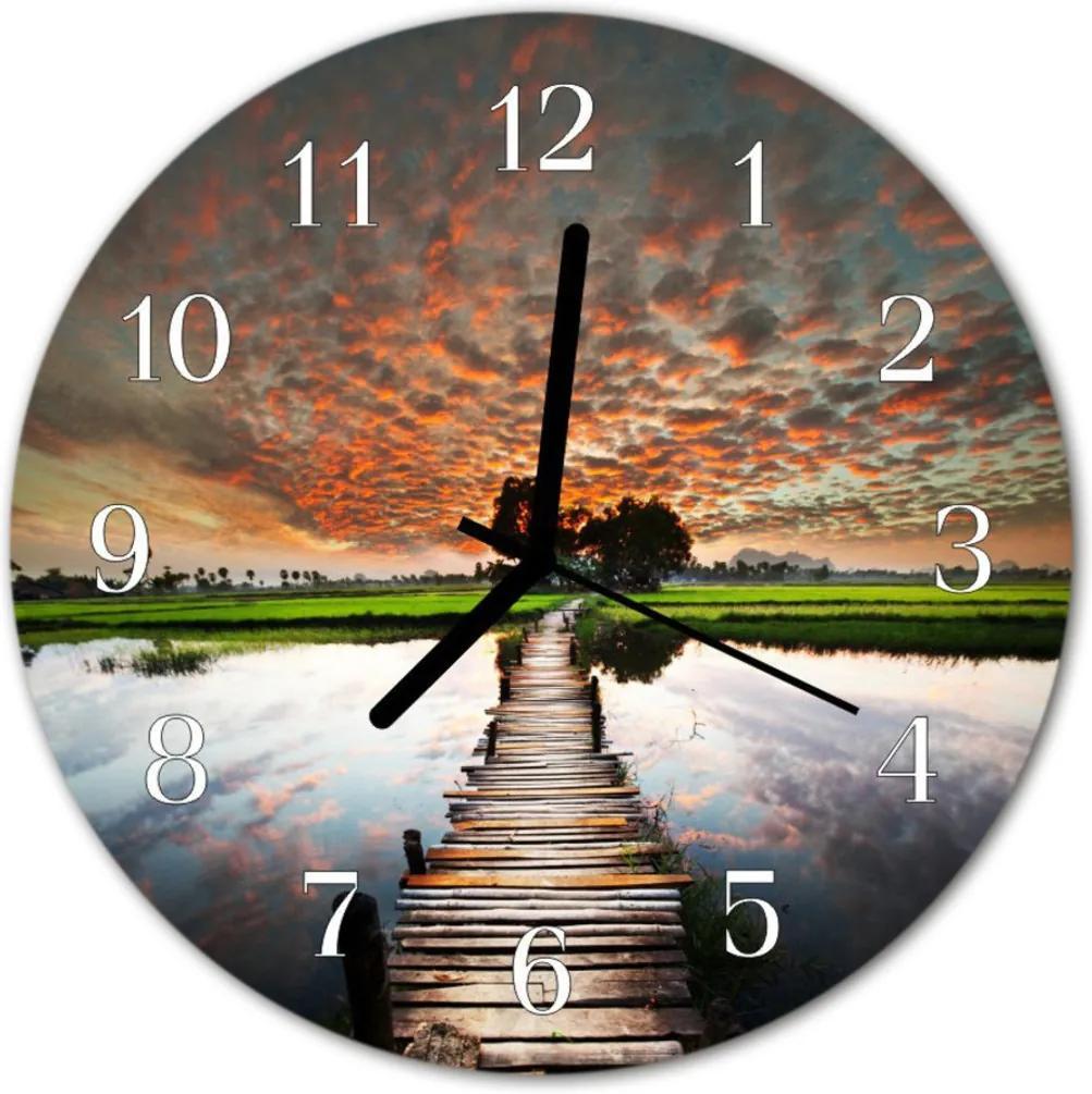 Skleněné hodiny kulaté Loukový most