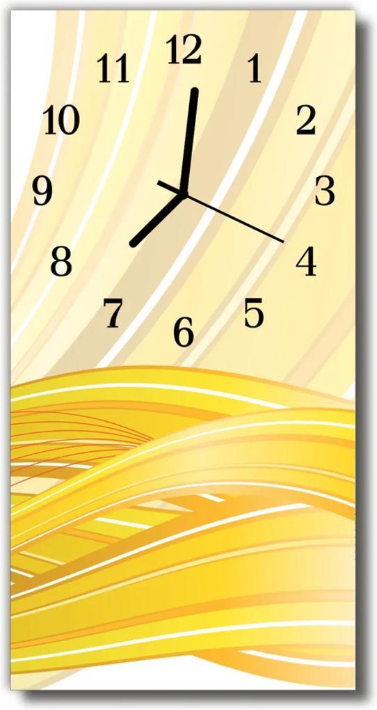 Skleněné hodiny vertikální Umění Grafika, žlutá abstrakce