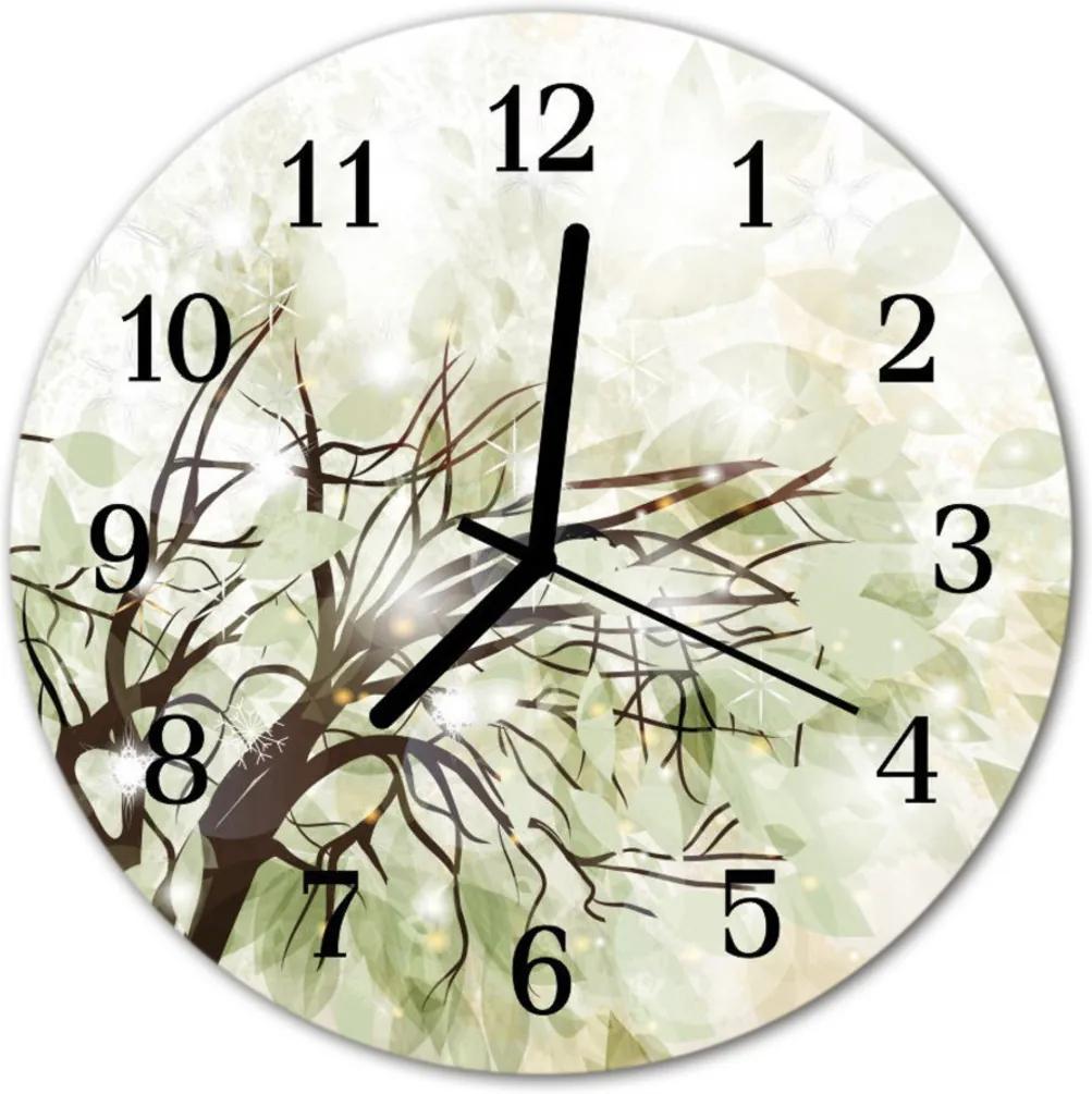 Nástenné skleněné hodiny strom