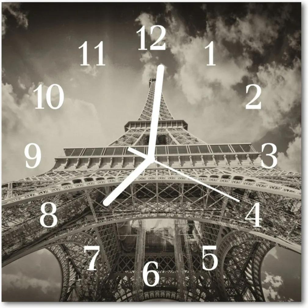 Nástenné skleněné hodiny Eiffelova věž