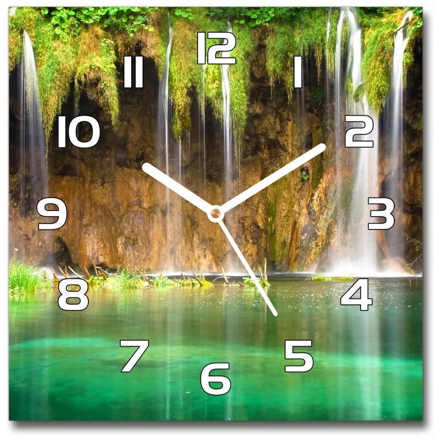 Sklenené hodiny štvorec Plitvické jazerá pl_zsk_30x30_f_47053009