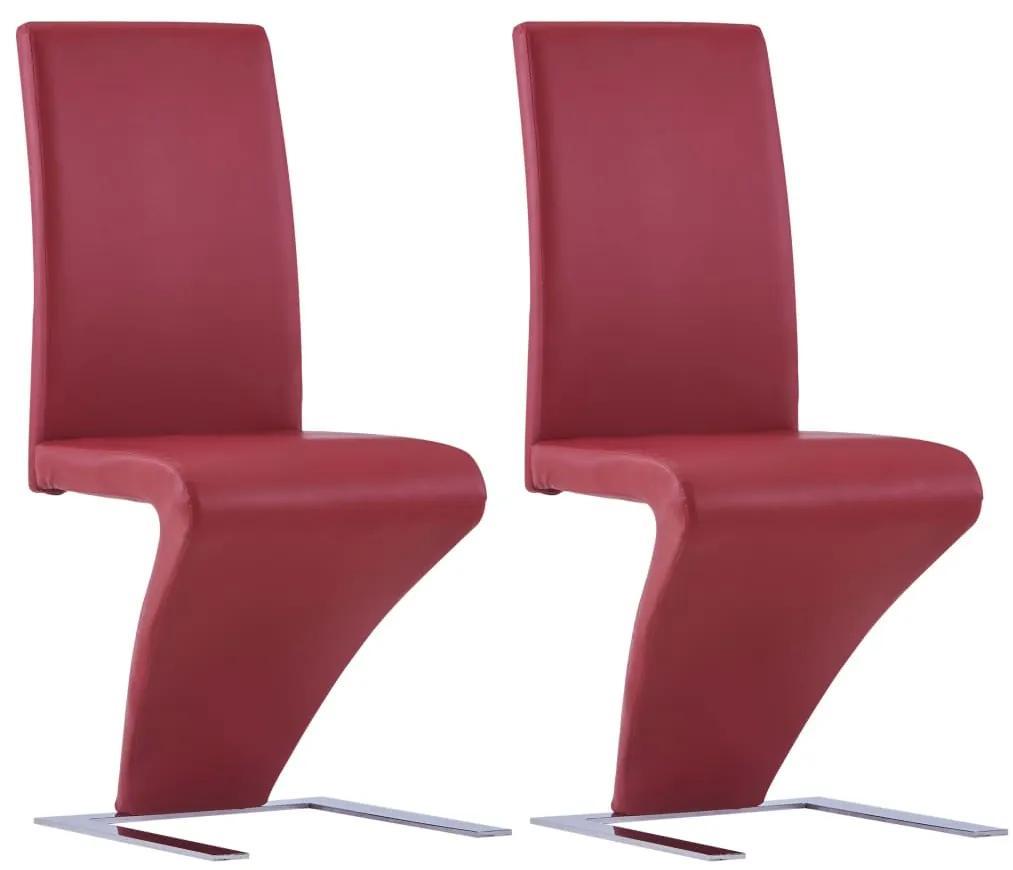 vidaXL Jedálenské stoličky, cikcakový tvar 2 ks, červené, umelá koža