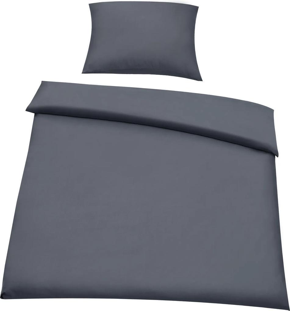 [neu.haus]® Posteľná bielizeň (na prikrývku + vankúš) - tmavo sivá - 135x200
