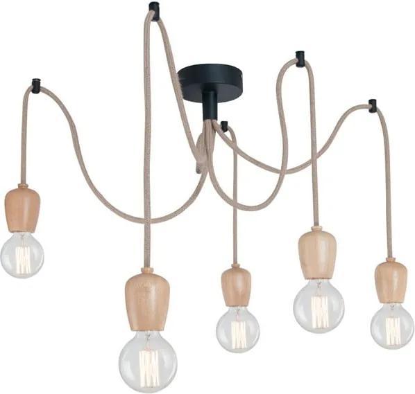 Závesné svietidlo s 5 káblami a drevenou objímkou Homemania Shold