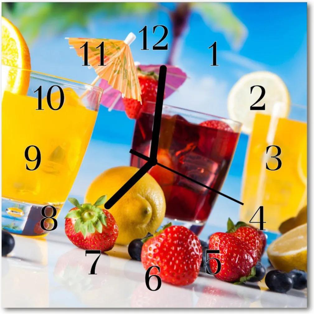 Nástenné skleněné hodiny koktejl