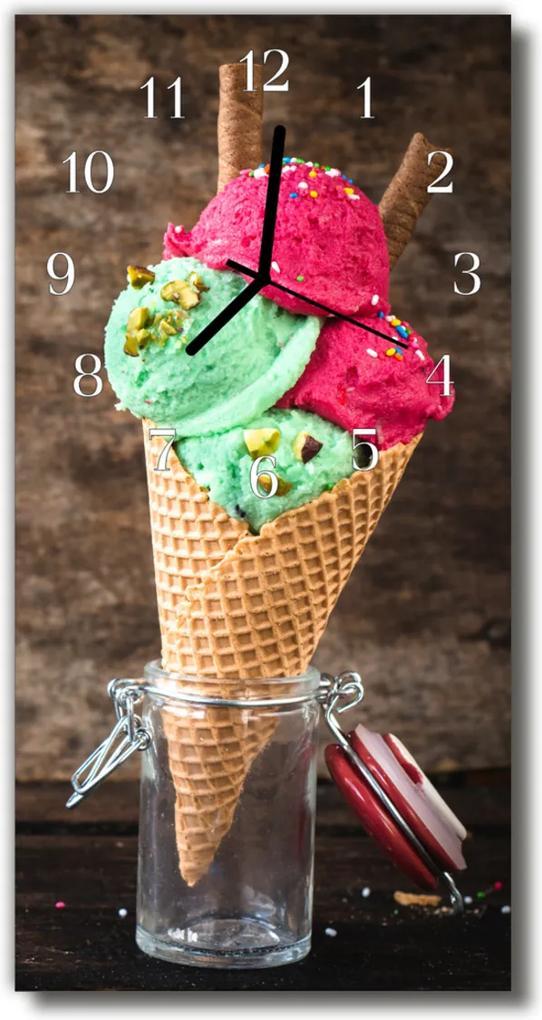 Skleněné hodiny vertikální Barevné ovocné zmrzliny