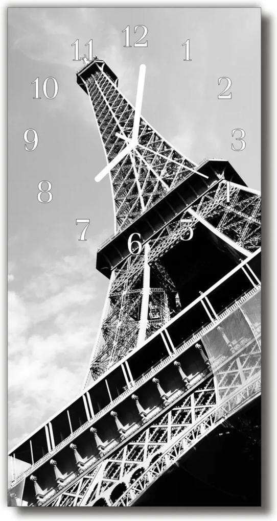 Skleněné hodiny vertikální City Eiffelova věž šedá