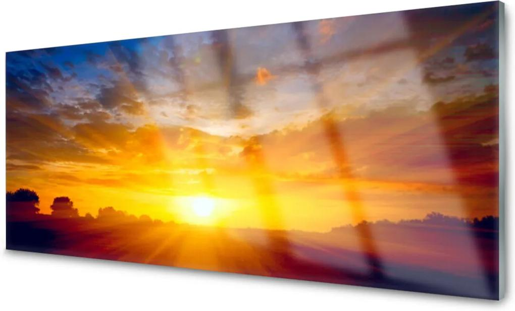 Skleněný obraz Slunce nebe krajina