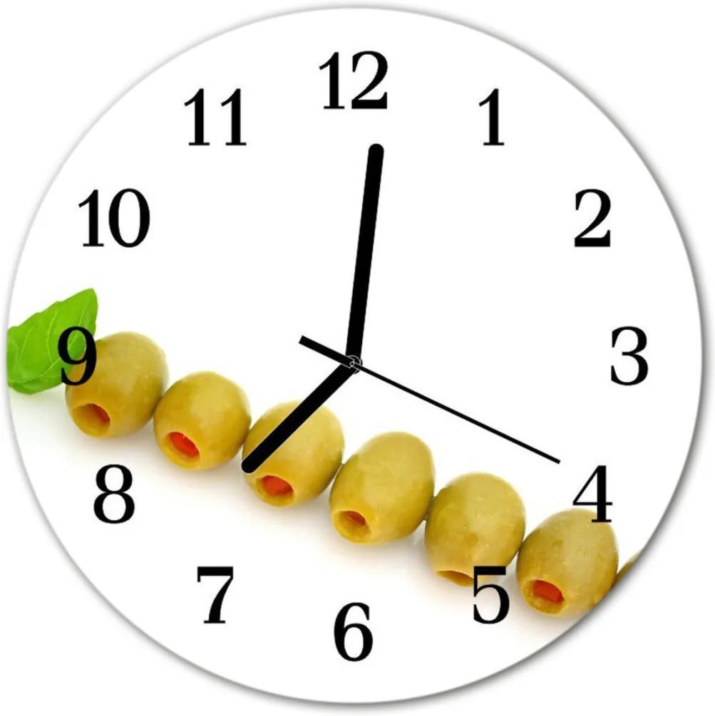 Skleněné hodiny kulaté olivy