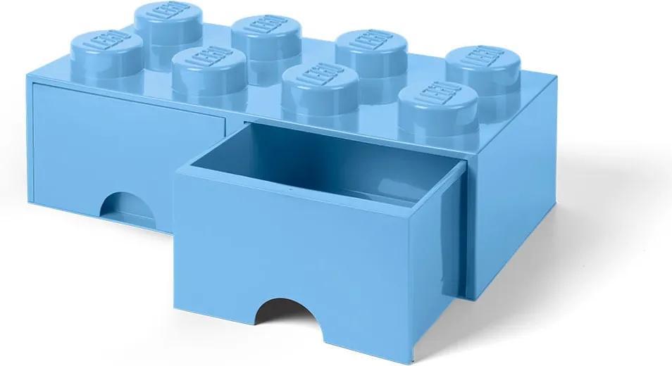 Svetlomodrý úložný box s dvoma zásuvkami LEGO®