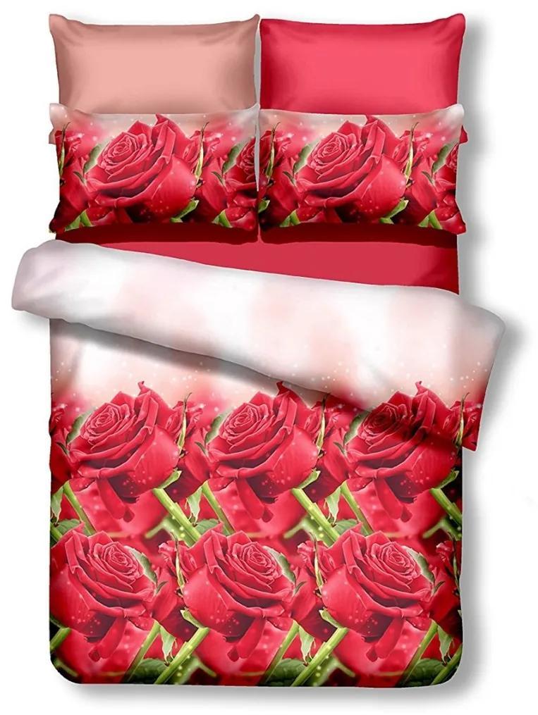 Oboustranné povlečení z mikrovlákna DecoKing Rose červené