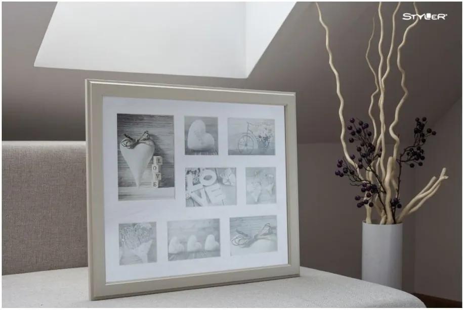 Béžový rámček na 8 fotografií Styler Malmo, 51 × 41 cm