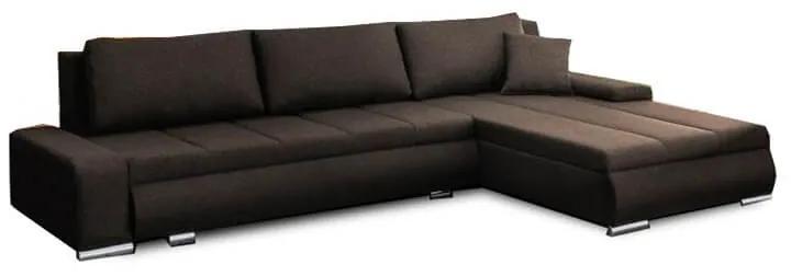 TEMPO KONDELA Toniks L/P rohová sedačka s rozkladom a úložným priestorom hnedá