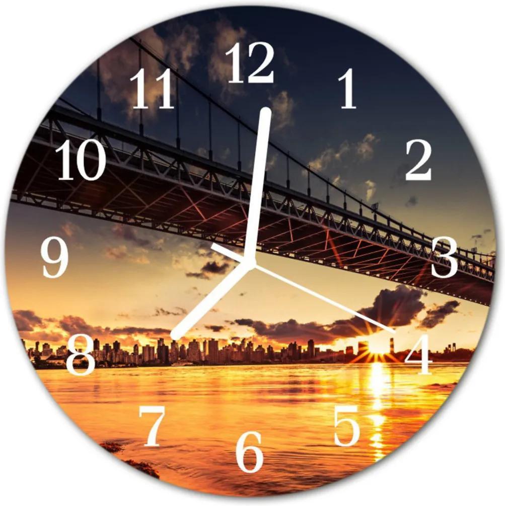 Nástenné skleněné hodiny Řecký most