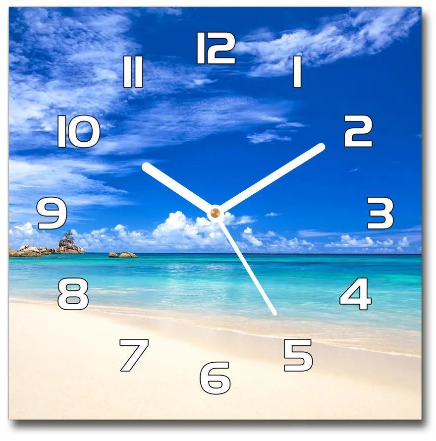 Sklenené hodiny štvorec Tropická pláž pl_zsk_30x30_f_72192051