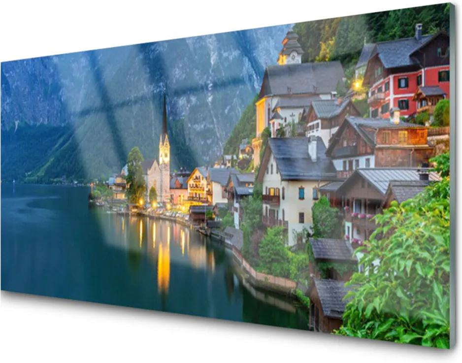 Skleněný obraz Hory Městečko Noc Jezero