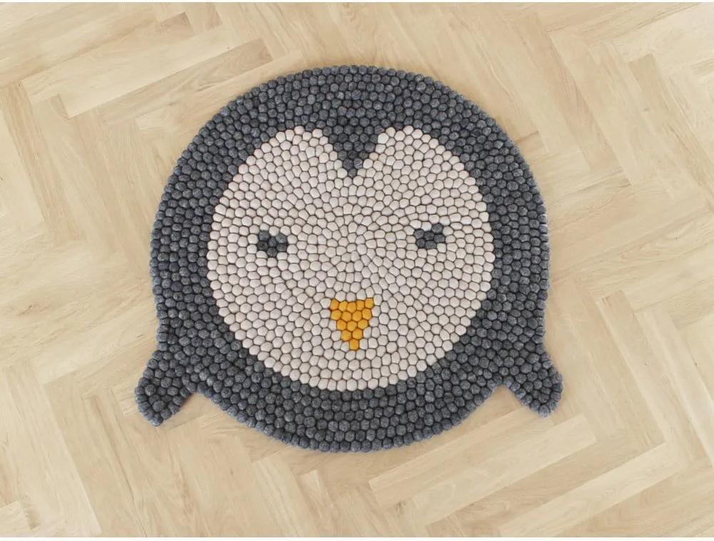 Detský guľôčkový vlnený koberec Wooldot Ball rugs Penguin, ⌀ 90 cm