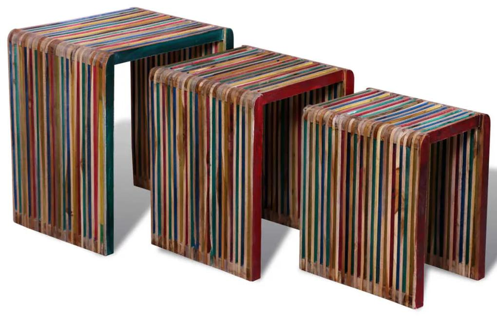 vidaXL Stohovateľné stolíky, 3 kusy, farebné, recyklované tíkové drevo