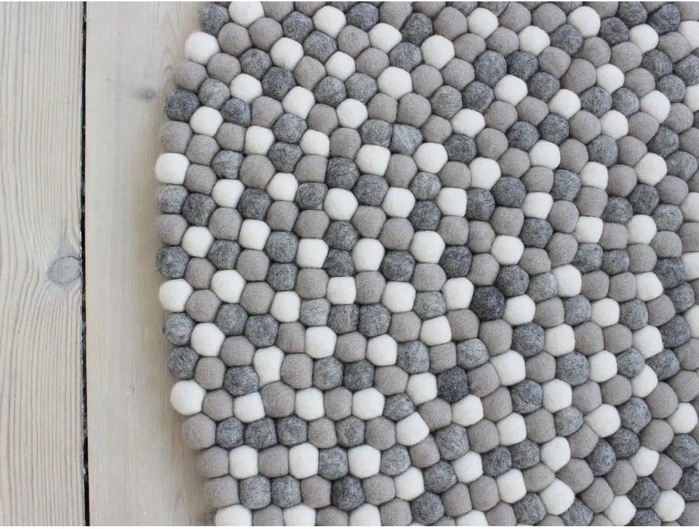 Svetlosivý guľôčkový vlnený koberec Wooldot Ball rugs, ⌀ 140 cm