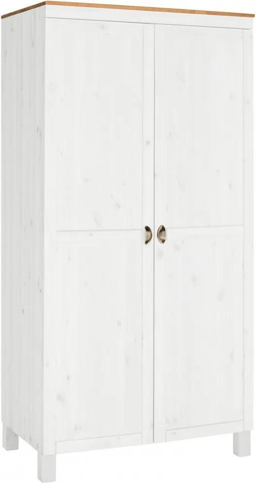 Šatníková skriňa Onea I., 205 cm, borovica/biela