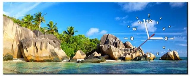 Tlačený obraz s hodinami Nádherný ostrov La Digue 100x40cm ZP2416A_1I