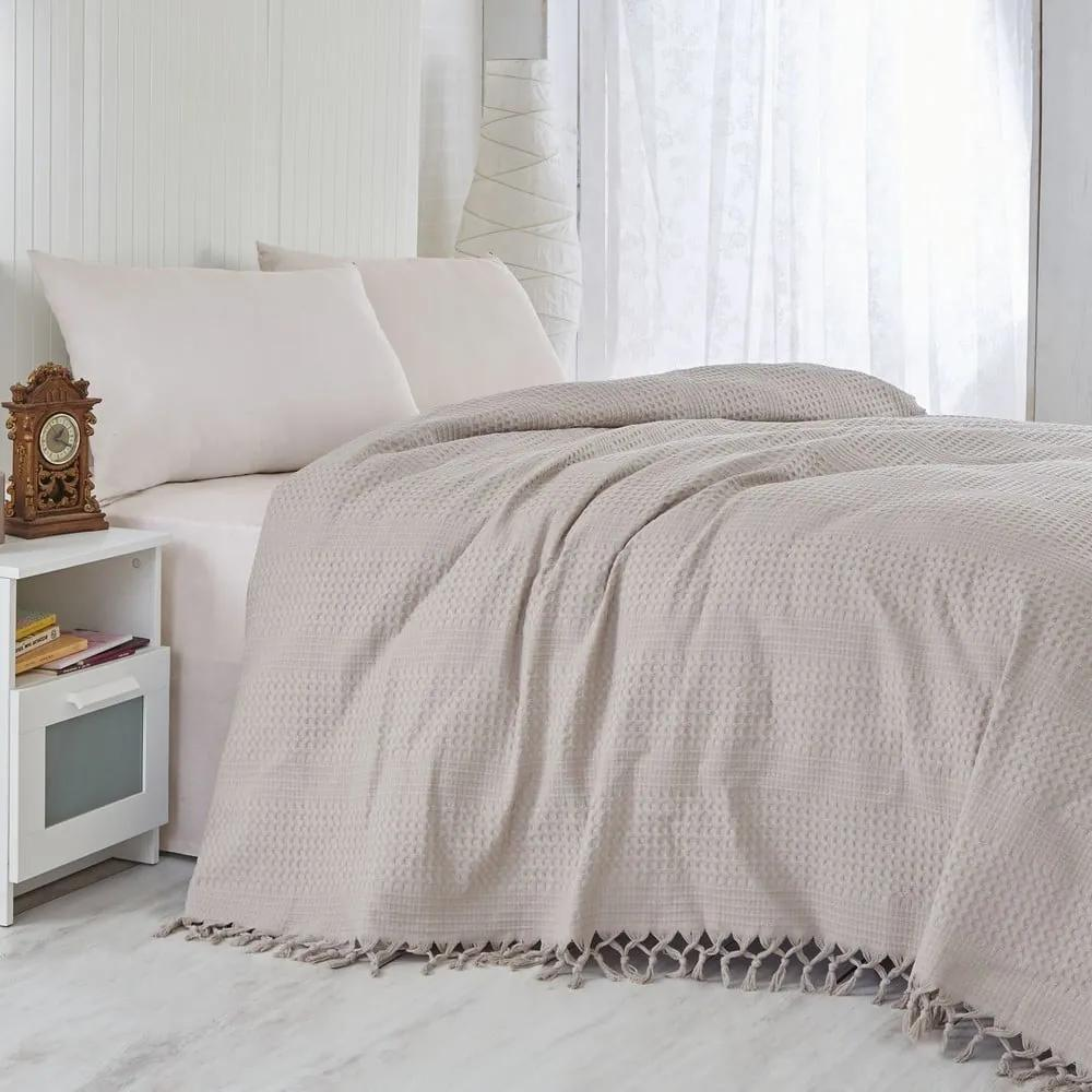 Hnedý bavlnený ľahký pléd na posteľ Brown, 220 × 240 cm