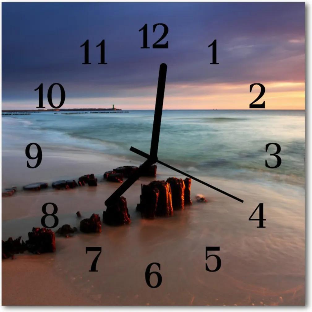 Skleněné hodiny čtvercové Moře na pláži