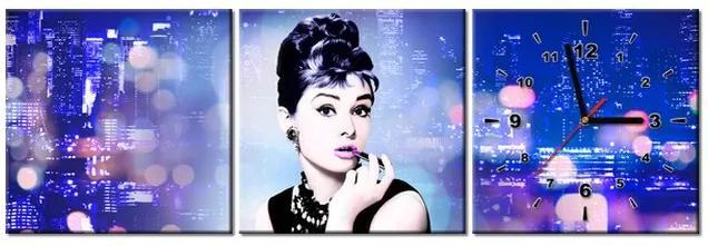 Tlačený obraz s hodinami Audrey Hepburn - Jakub Banas 90x30cm ZP3579A_3A