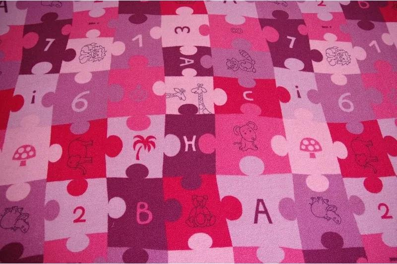 Detský koberec PUZZLE fiolet - 100x100 cm