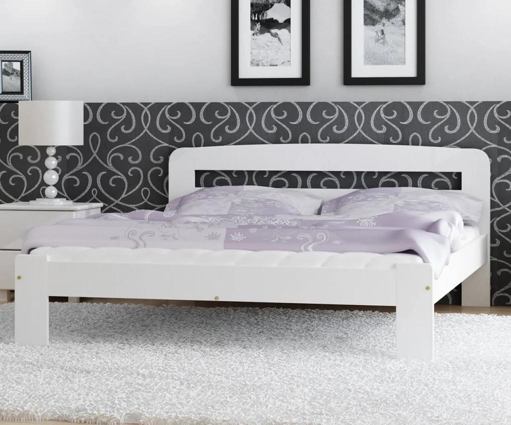 AMI nábytok Postel borovice Marcelína 140x200 masiv bílá