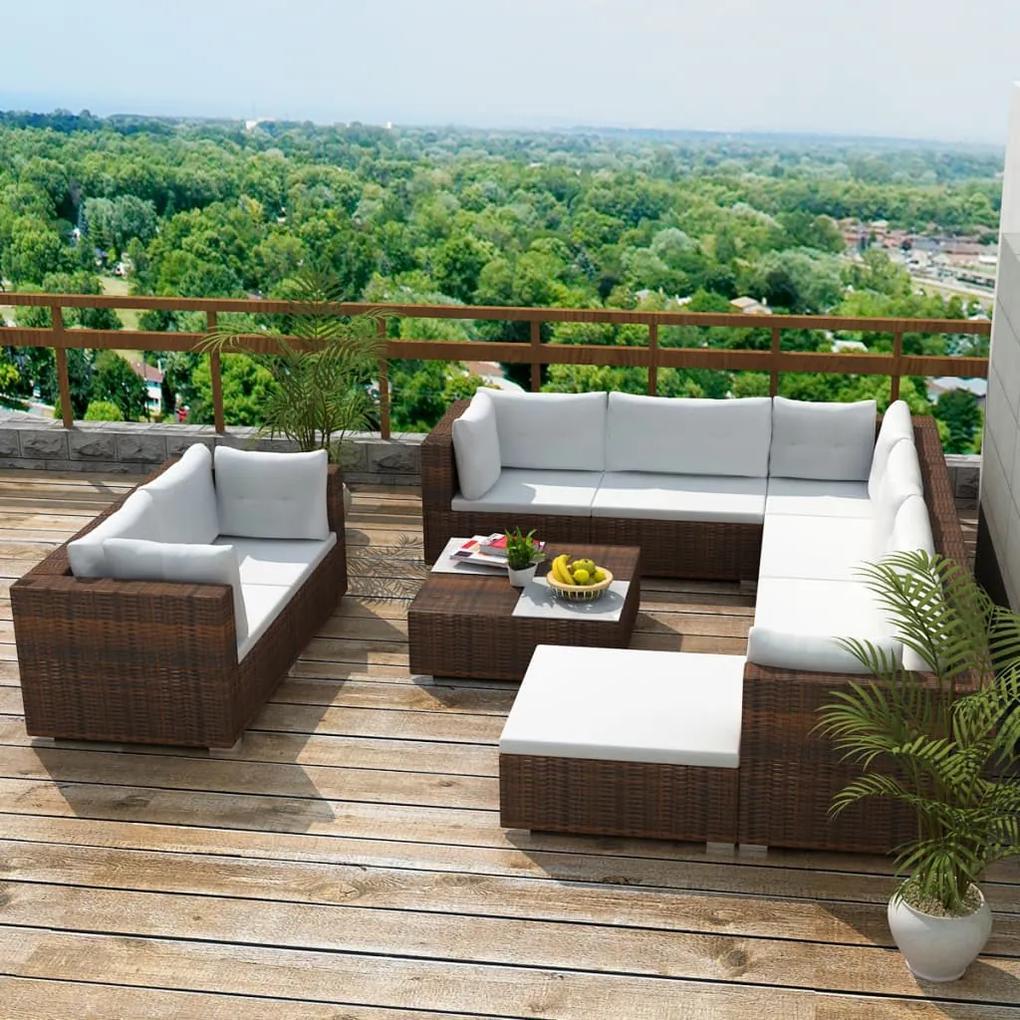 vidaXL 32-dielna záhradná sedacia súprava, polyratanová, hnedá