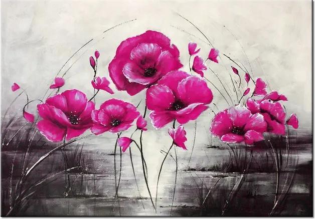 Ručne maľovaný obraz Ružové Vlčie maky 100x70cm RM2453A_1Z