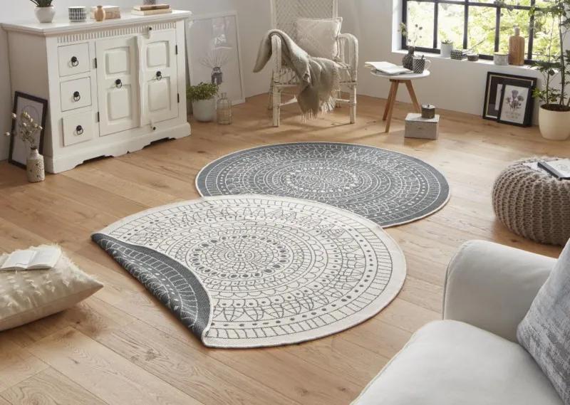 Bougari - Hanse Home koberce Kusový koberec Twin-Wendeteppiche 103143 creme graun - 140x140 kruh cm