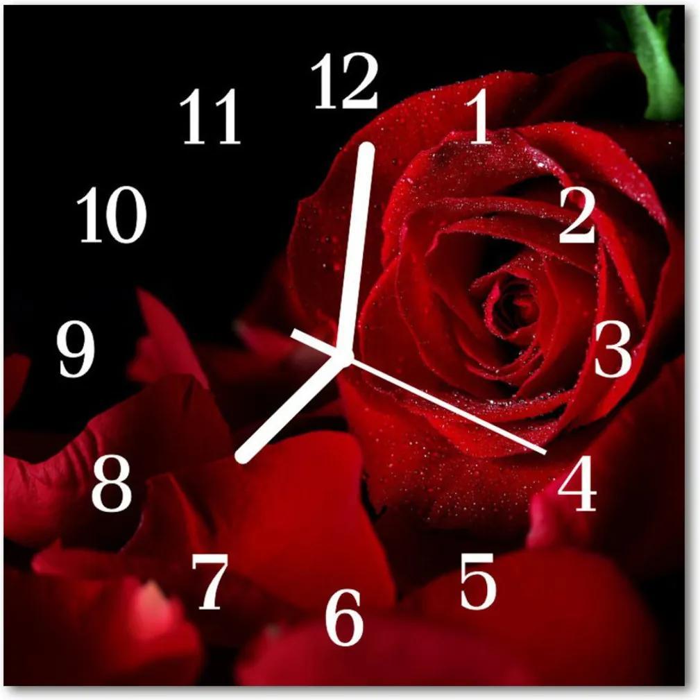 Nástenné skleněné hodiny růže