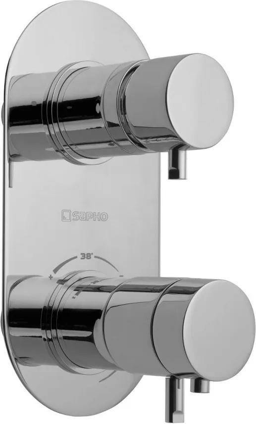 SAPHO - RHAPSODY podomítková sprchová termostatická baterie, 2 výstupy, chrom (5585T)