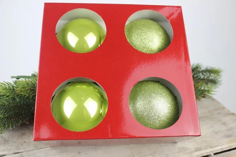 Zelené vianočné gule 4 ks 10cm