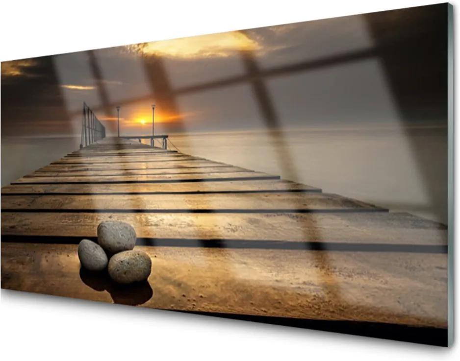 Skleněný obraz More Mólo Západ Slnka