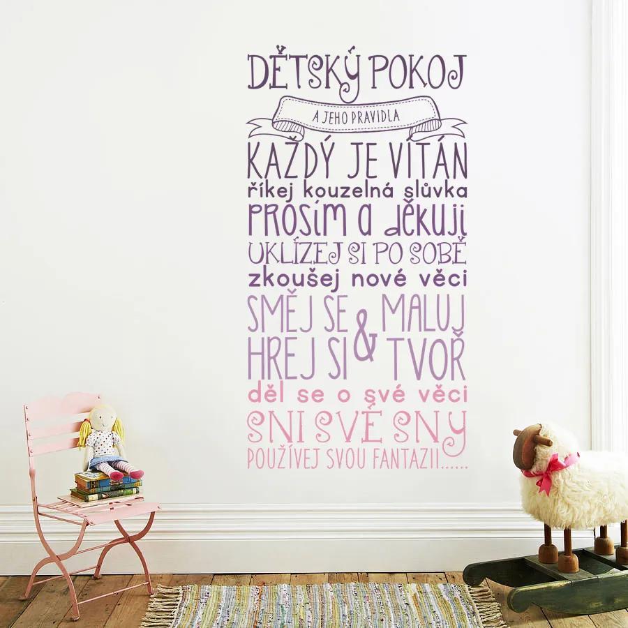 Housedecor Dekorácia na stenu - Pravidlá detskej izbičky ružová 90x60