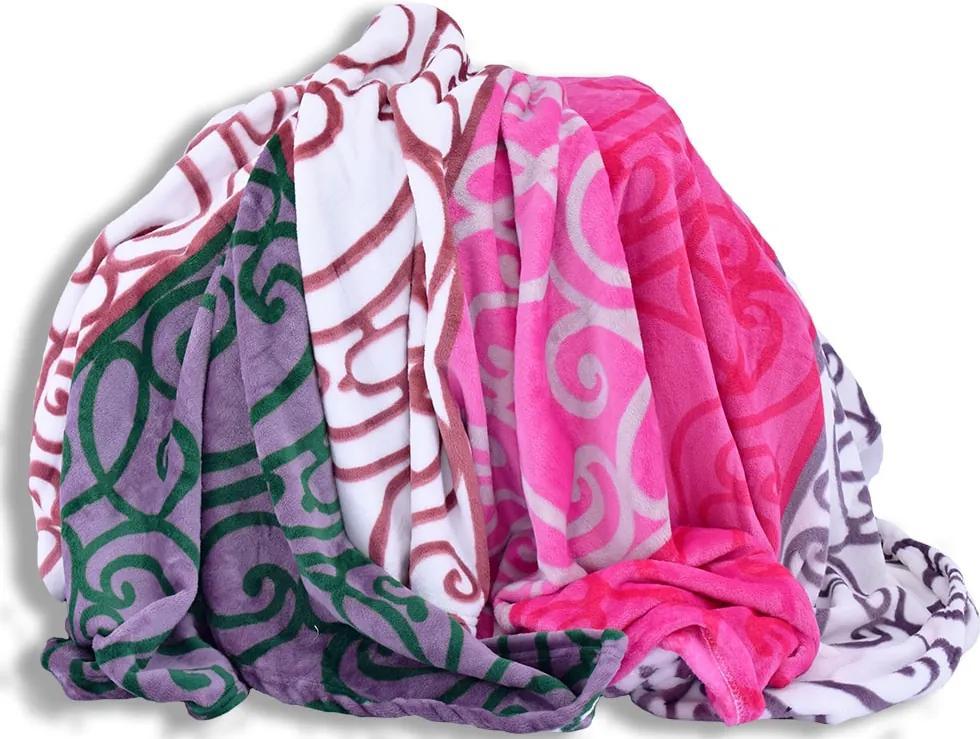Homeville deka mikroplyš 150x200 cm ornamenty v barevných pruzích