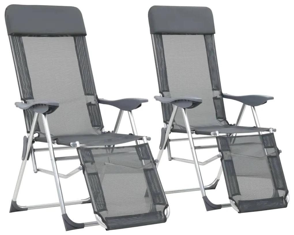 vidaXL Skladacie kempingové stoličky s podnožkami 2 ks, sivé, hliník