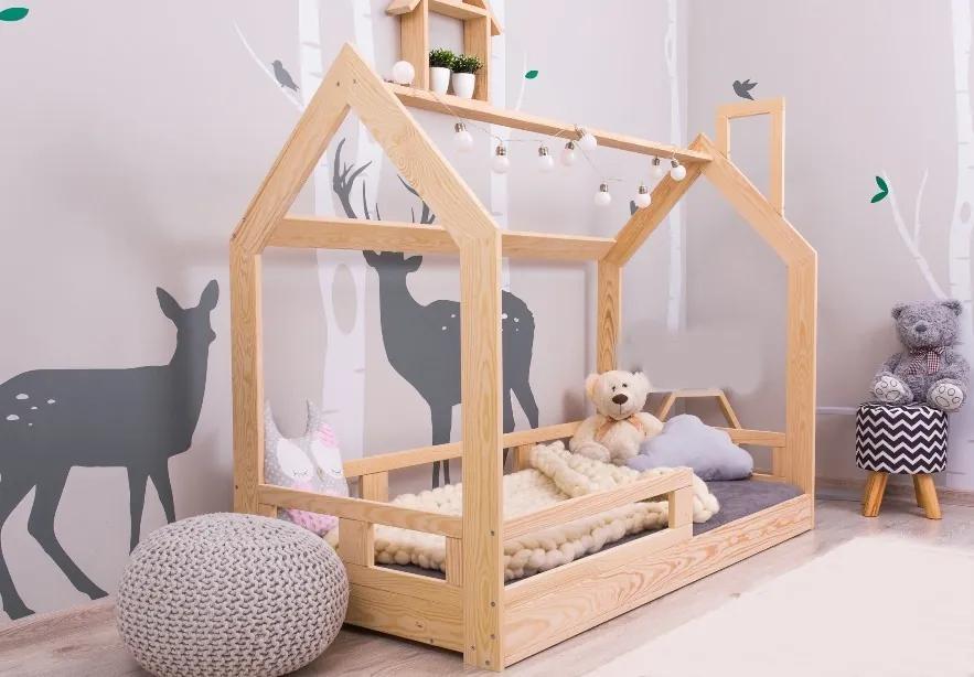 MAXMAX Detská posteľ z masívu bez šuplíku DOMČEK BEDHOUSE 140x70 cm 140x70 pre všetkých